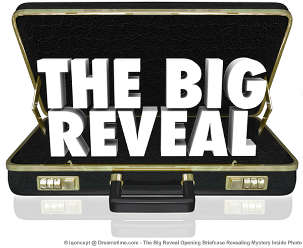 "briefcase with ""THE BIG REVEAL"" words inside it"