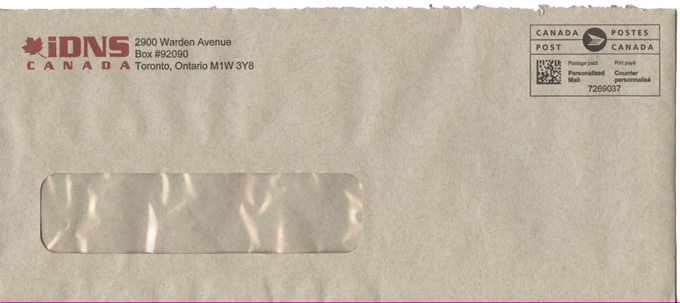 IDNS envelope that their letter arrived in, in 2018