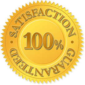 a 100% satisfaction guarantee seal