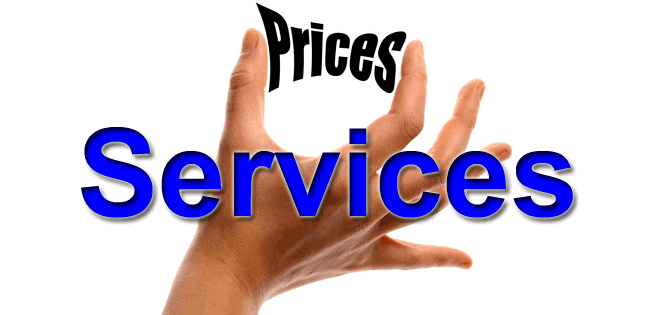 hand squeezing the word prices with the word Services overtop