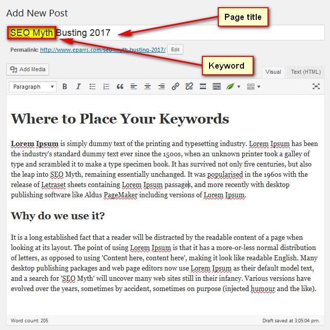1st edit window of WordPress post