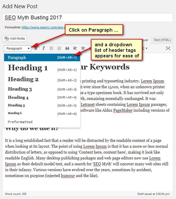 4th edit window of WordPress post