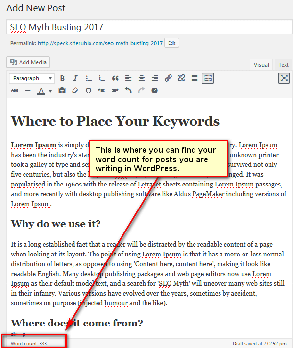 5th screen print of edit window of WordPress post