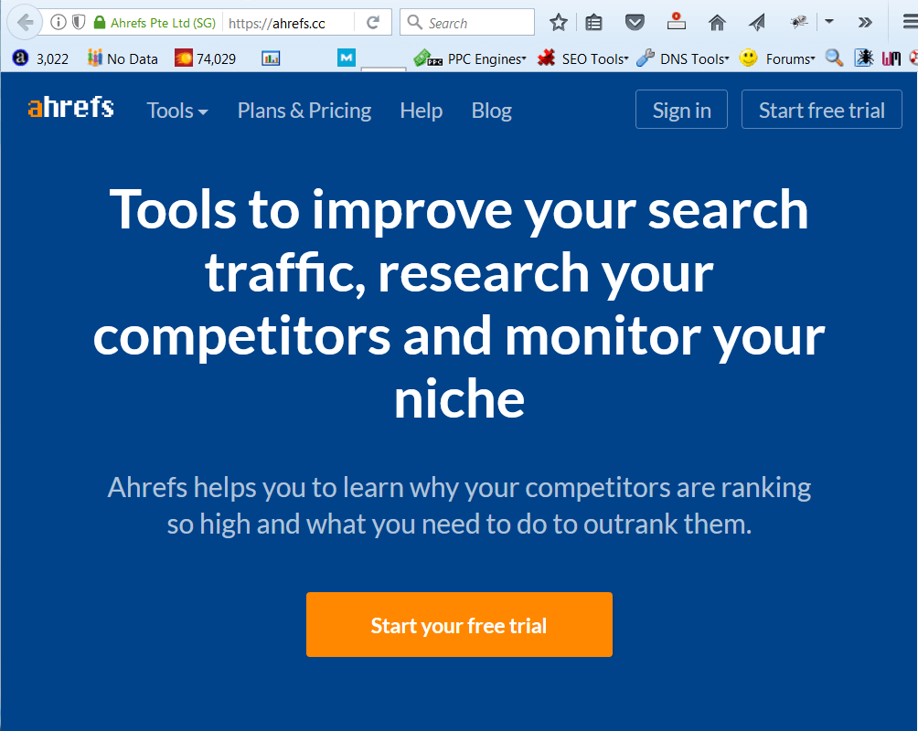 screen print of ahrefs.com