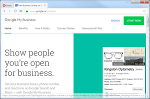 screen print of Google My Business website