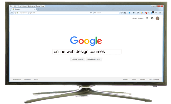 "monitor displaying Google searching ""online web design courses"""