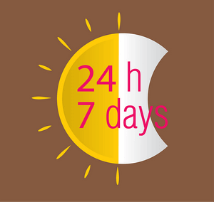 a graphic with 24 h 7 days written on it