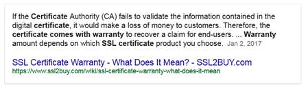 screen print of an explanation for why ssl certificates need a warranty