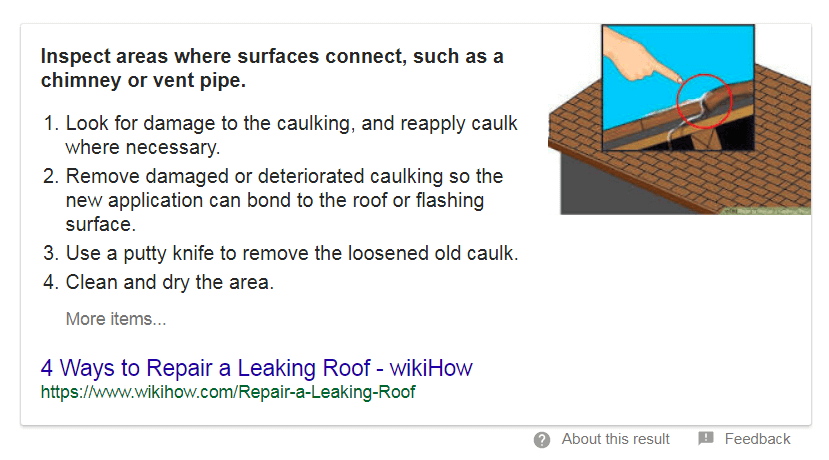 screen print of a Google answer box for how to fix a leaky roof