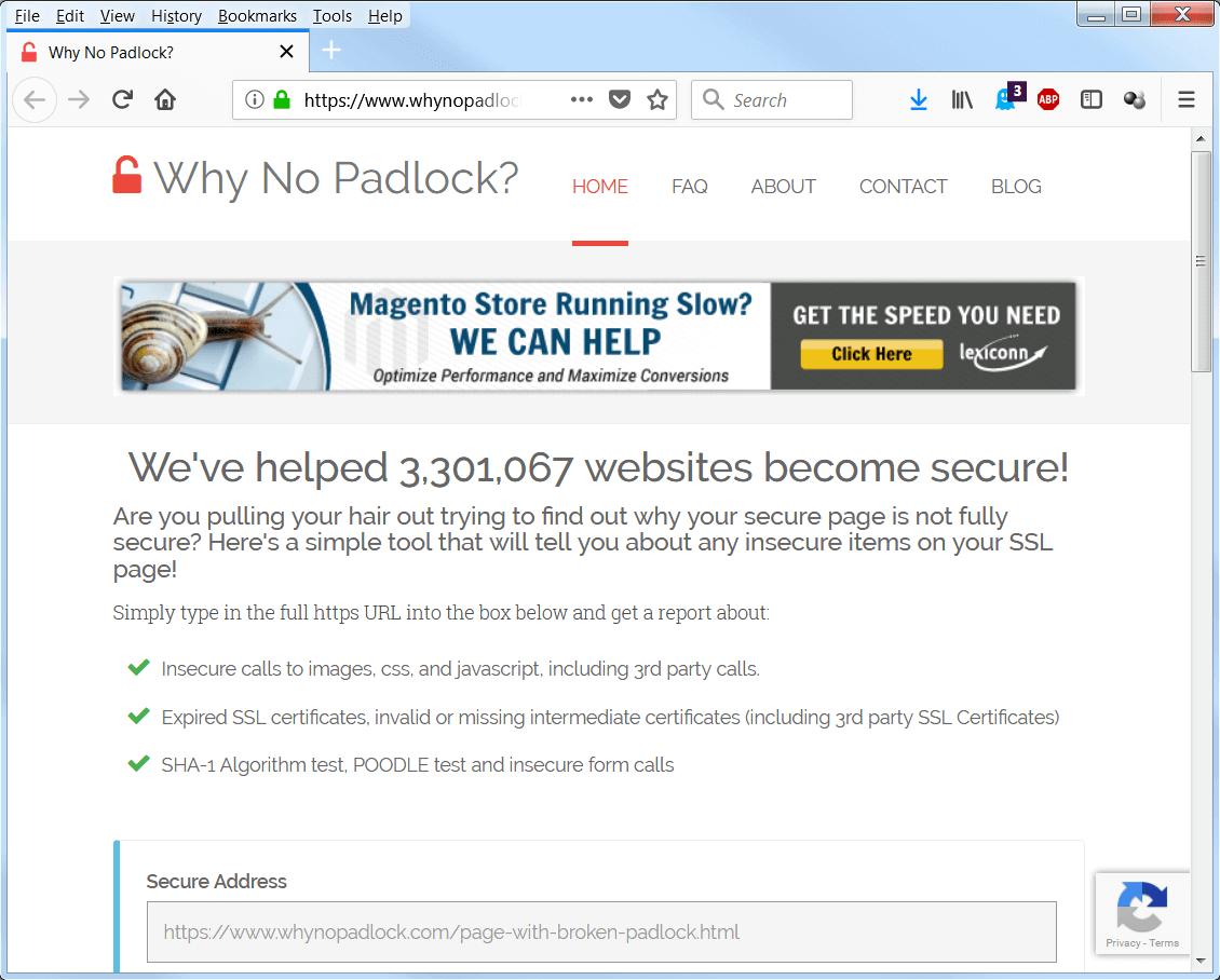 screen print of Why No Padlock's website