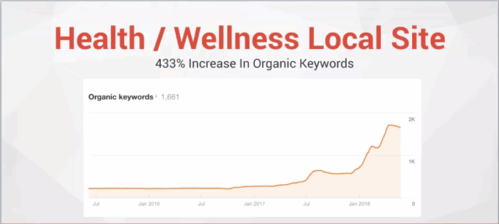 a graph of a health and wellness local website showing marked improvement in traffic