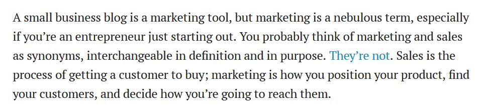 screen print of a paragraph from Entrepreneur.com
