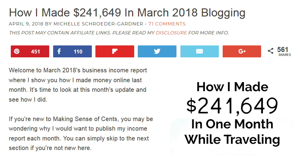 """screen print of the top of Michelle's web page showing title """"How I Made $241,649 in March 2018 Blogging"""""""