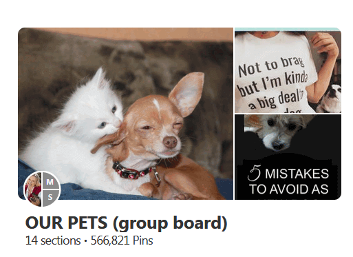 screen print of a Pinterest group board titled Our Pets
