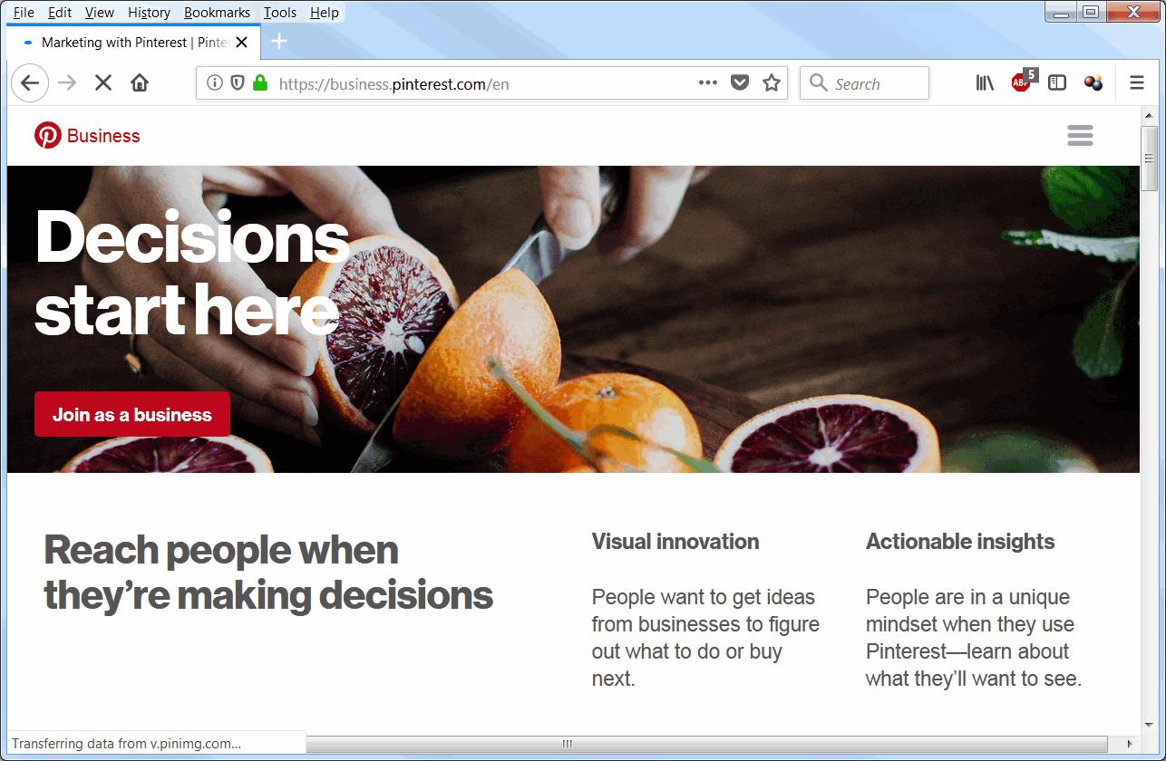 screen print of business Pinterest dot com