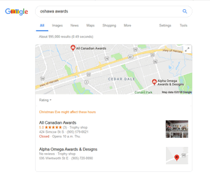 a screen print of Google's local pack for Oshawa awards