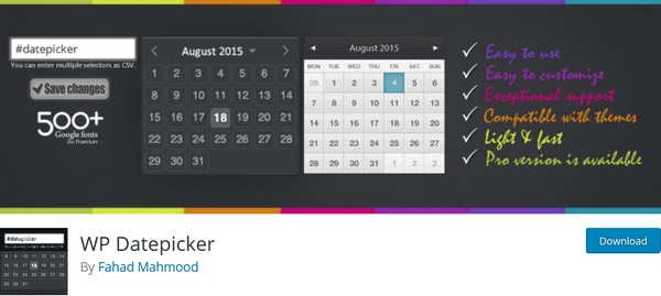 screen print of the WP Datepicker plugin