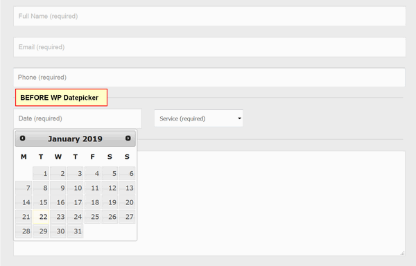 screen print of Contact Form 7 form before WP Datepicker is used