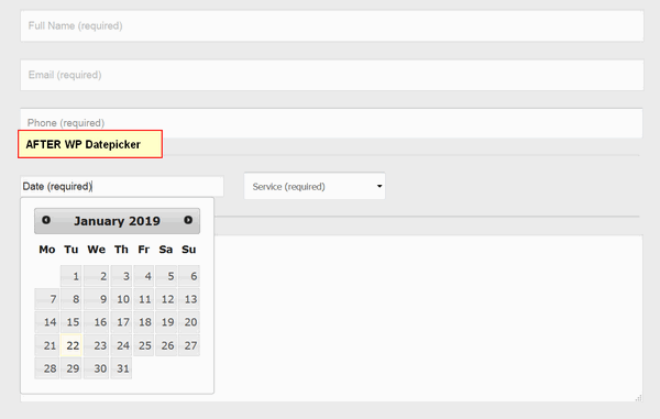 screen print of Contact Form 7 form after WP Datepicker is used