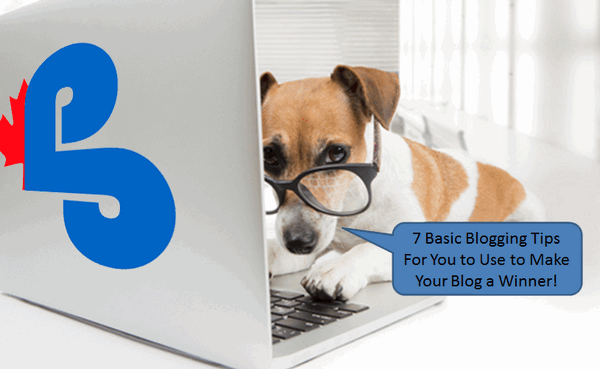 "small dog in front of laptop computer saying ""7 basic blogging tips for you to use to make your blog a winner!"""