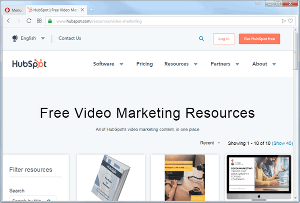 screen pring of hubspot's video marketing tool