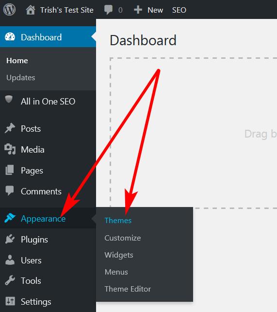 screen print of WordPress Dashboard > Appearance > Themes