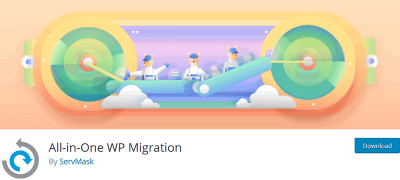 screen print of All-In-One WP Migration plugin