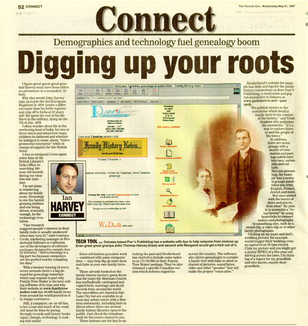 Connect page from Toronto Sun Newspaper, 21 May 1997 edition, page 52