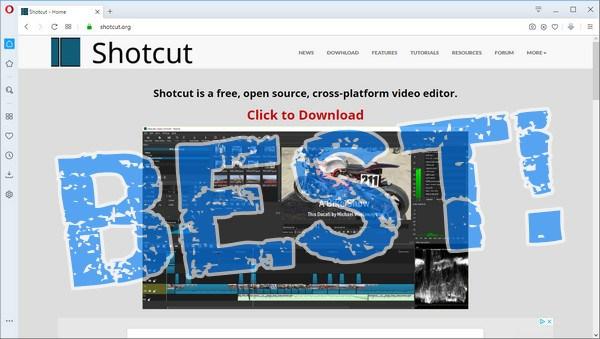 screen print of Shotcut's website with BEST! overtop