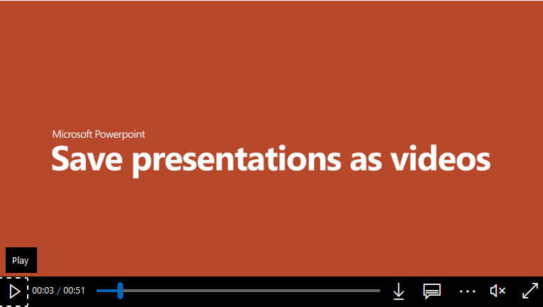Save presentations as videos - video training
