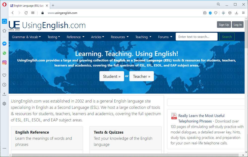 screen print of UsingEnglish.com's website