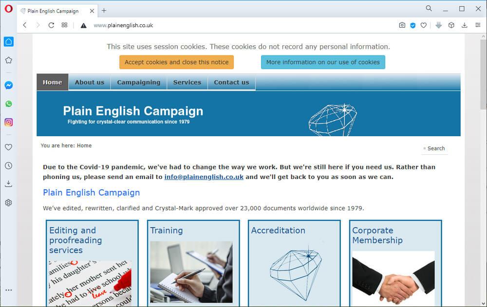 screen print of PlainEnglish.co.uk's website