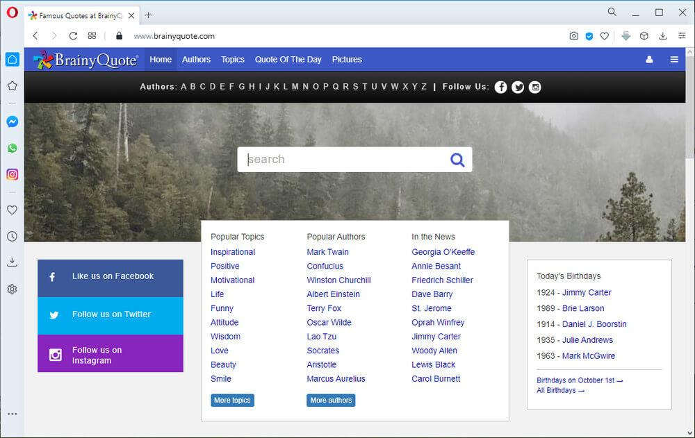screen print of the BrainyQuote.com website