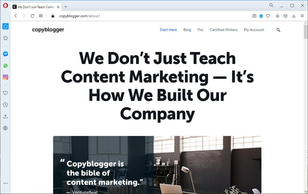 screen print of the CopyBlogger website