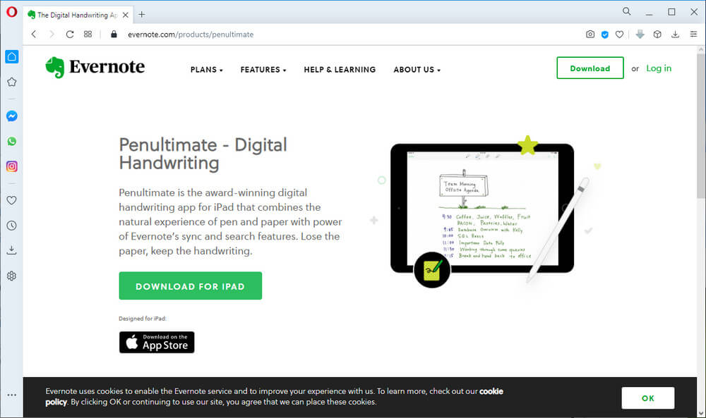 screen print of Evernote's Penultimate website