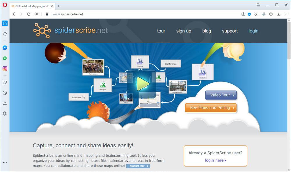 screen print of SpiderScribe website