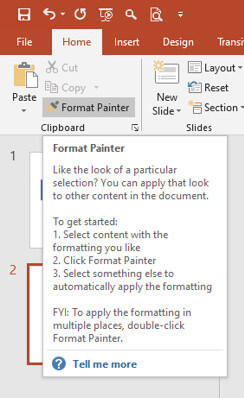 screen print of where to find Format Painter in PowerPoint