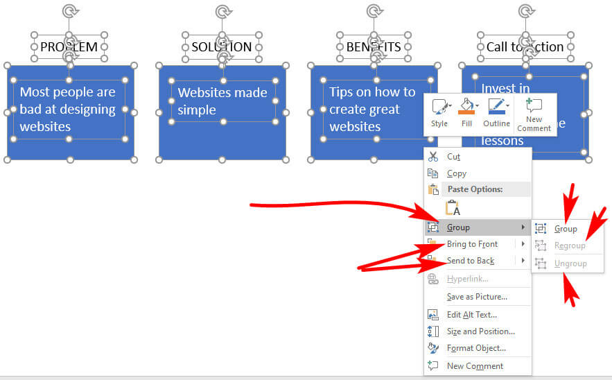 screen pint of one method to find Group and Ungroup options in PowerPoint
