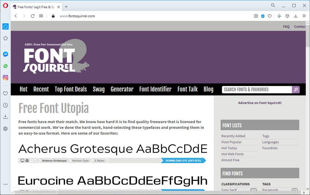 screen print of the fontsquirrel.com website