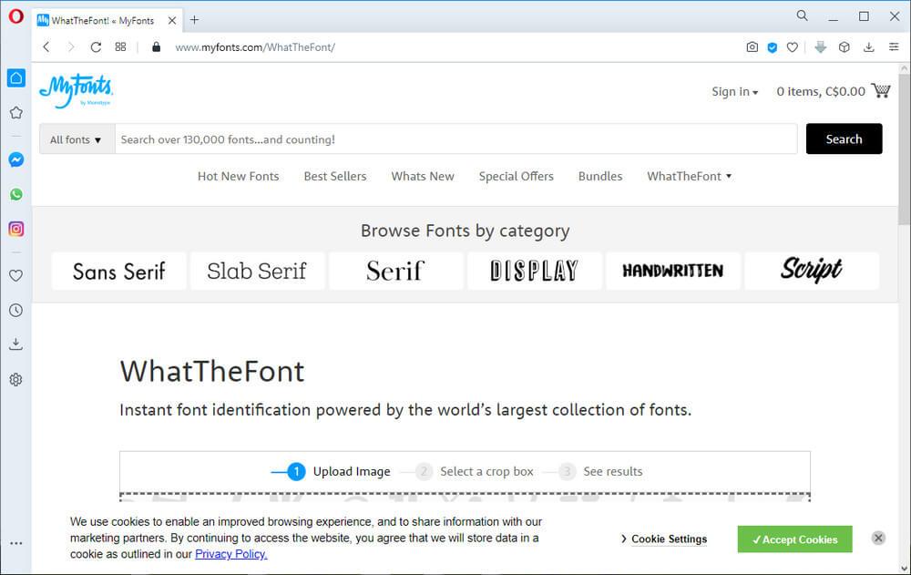 screen print of the myfonts.com website