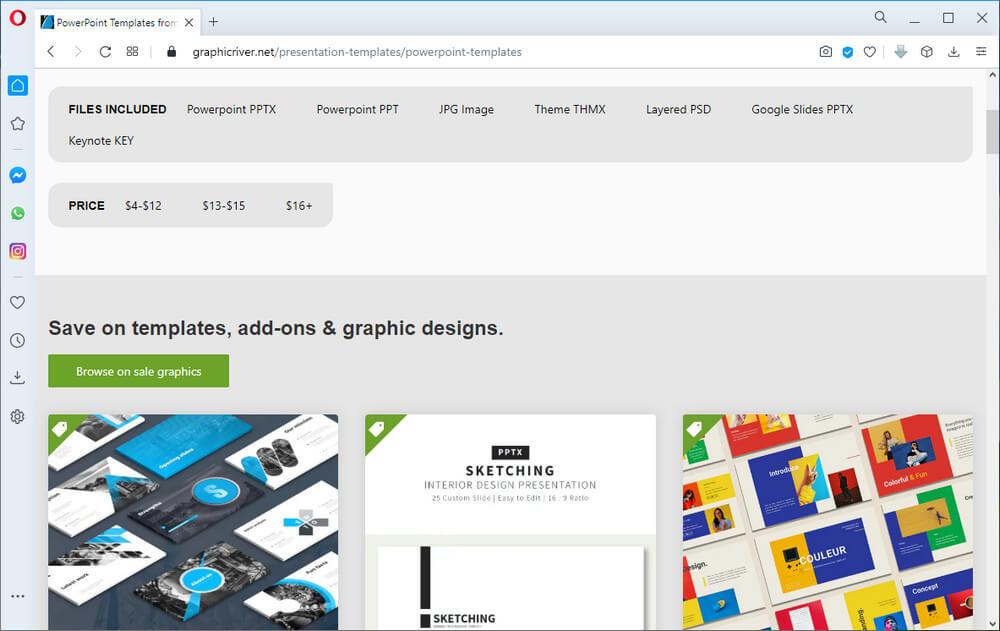 screen print of GraphicRiver's website