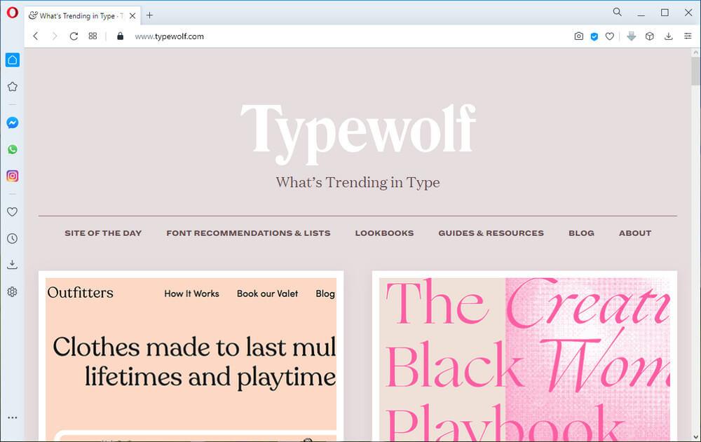 screen print of the typewolf.com website