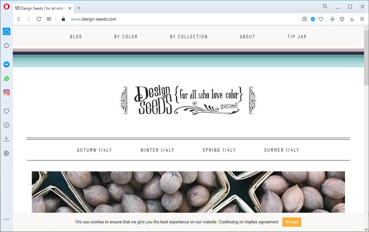 screen print of the design-seeds.com website