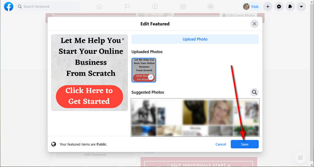 screen print showing how to Save FB Featured image once uploaded